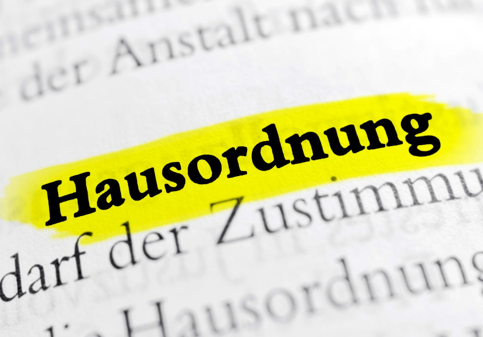 """Hausordnung – """"Ergänzung zum Mietvertrag"""""""